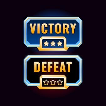 Interface de design de vitória e derrota do jogo ui de diamante dourado
