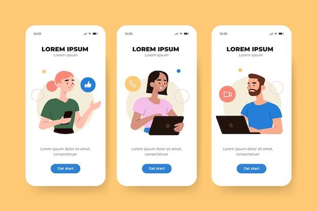 Interface de diferentes conceitos de aplicativo