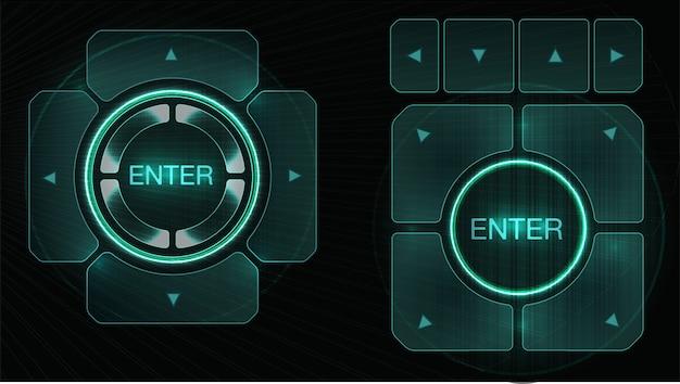 Interface de hud futurista elementos de design do hud. conjunto de flechas tema de tecnologia e ciência.