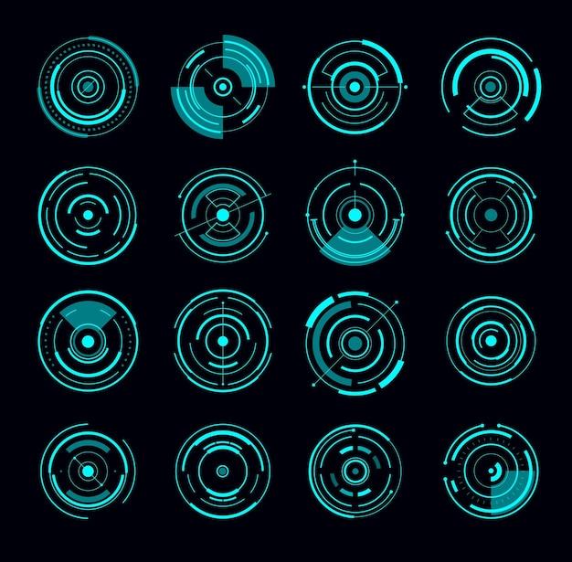 Interface de hud redondo círculo futurista de radar. elementos da interface do jogo