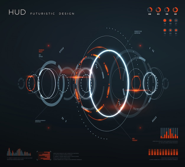 Interface de hud virtual futurista.