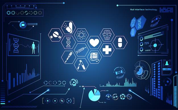 Interface de ícone de cuidados de saúde de ciência médica abstrato saúde