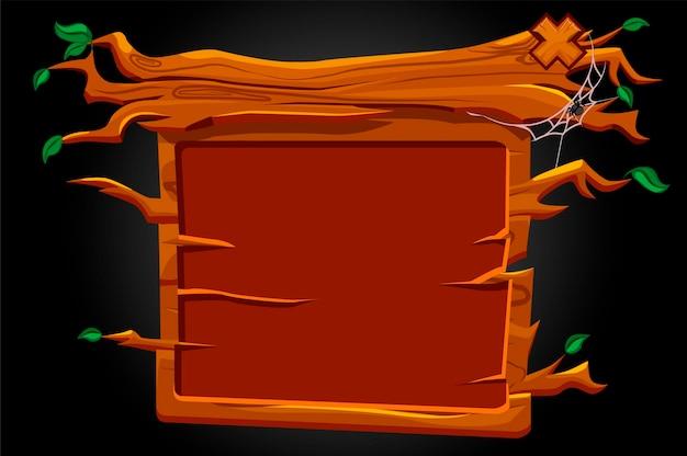 Interface de interface do usuário de placa de madeira para o jogo. ilustração de uma janela vazia assustadora