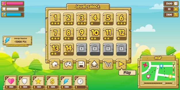Interface de jogo de madeira