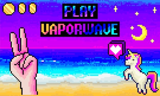 Interface de jogo de pixel de computador, 8 bits