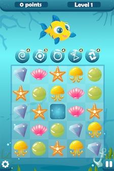 Interface de jogo de três jogos para o mundo subaquático