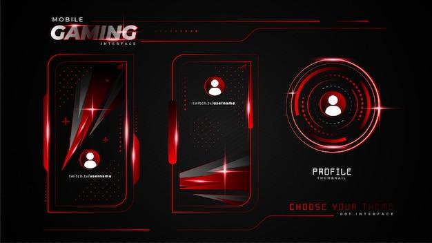 Interface de jogo móvel vermelho abstrata
