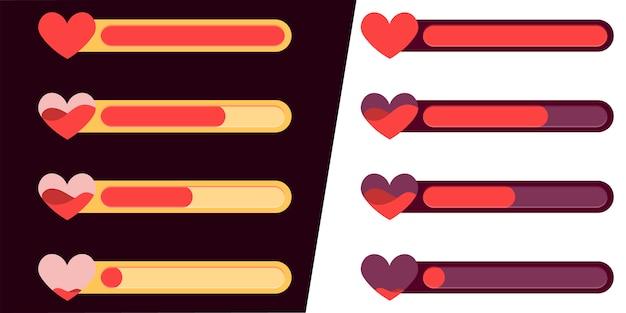 Interface de jogo para celular. conjunto de ícones de status de vida e saúde.