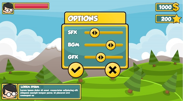 Interface de jogo simples