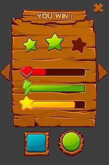 Interface de madeira da ilustração do conceito do jogo com botões.