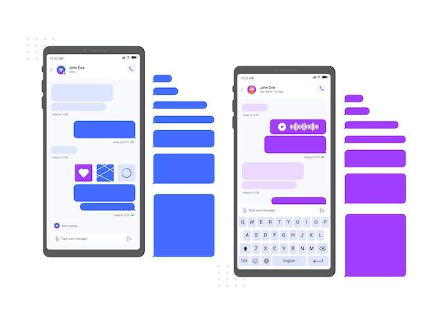Interface de mensageiro de bate-papo móvel. mensagens de smartphone, conversa de bate-papo e mensagem on-line na ilustração da tela do telefone. aplicativo de internet com balões de fala vazios e teclado