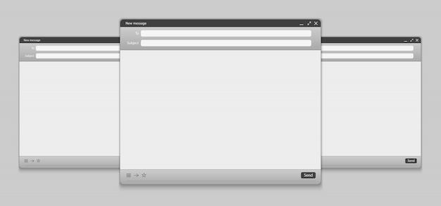 Interface de mensagem de e-mail com o painel da web de formulário de envio.