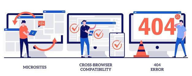 Interface de microsite, compatibilidade com crossbrowser, erro 404. conjunto de desenvolvimento web, programação
