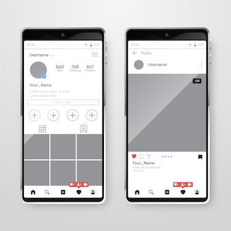 Interface de perfil do instagram com telefone celular
