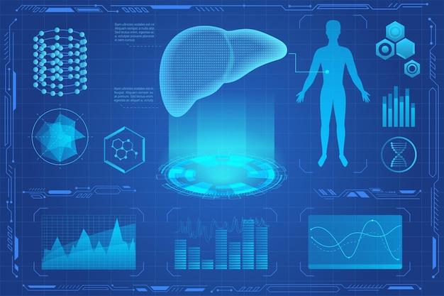 Interface de realidade virtual de holograma médico futurista de fígado humano.