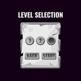 Interface de seleção de nível de interface do usuário do jogo de papel de pedra para jogos 2d