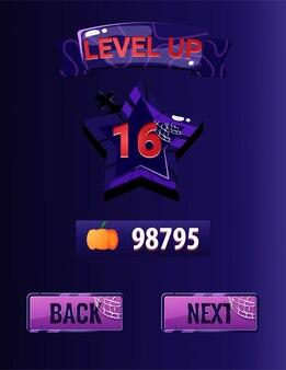 Interface de subida de nível da interface do usuário do jogo com tema de halloween