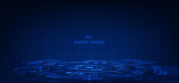 Interface de tecnologia abstrata de modelo de estilo geométrico azul com poder. sobreposição de fundo de tom escuro.