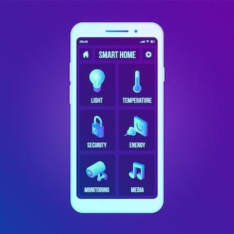 Interface de tecnologia em casa inteligente na tela do aplicativo de smartphone. sistema de controle remoto em casa no smartphone.