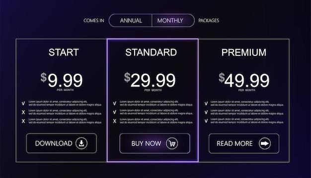 Interface de três tarifas para o banner de vetor do site