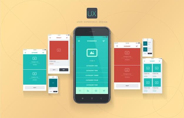 Interface de usuário conceitual de layouts da web para experiência do usuário em comércio eletrônico