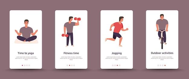 Interface de usuário de telas de esportes ao ar livre integradas homem andar de bicicleta, fazer ioga, correr
