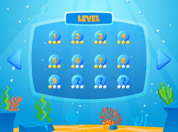 Interface de usuário do jogo de atividades divertidas de cálculo do número do jogo de peixes