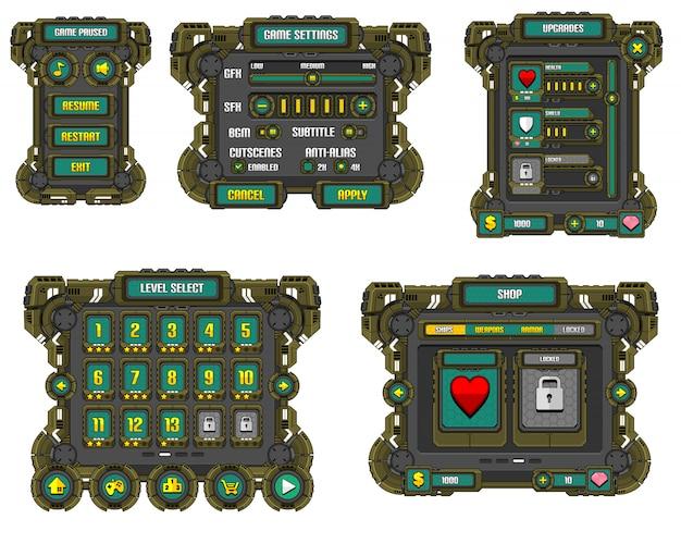 Interface de usuário do jogo de ficção científica