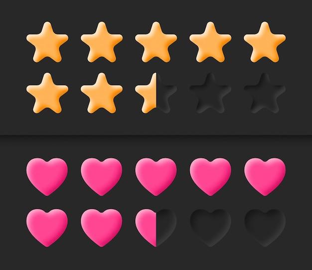Interface de usuário do jogo elementos neumórficos estrelas escala de classificação de conquistas e sistema de classificação de barra de saúde de vida