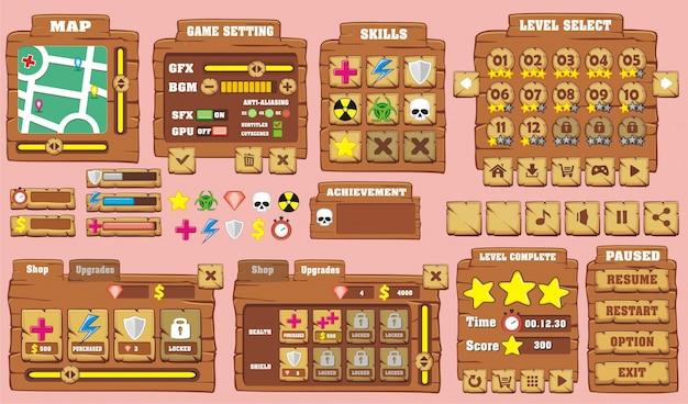 Interface de usuário do jogo em estilo de desenho animado