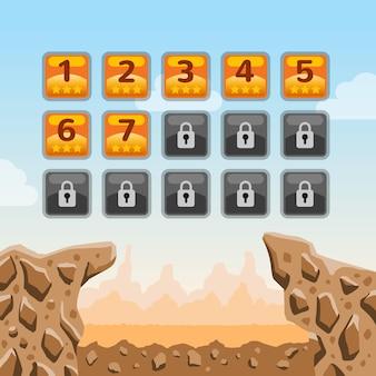 Interface de usuário do jogo. ilustração dos desenhos animados