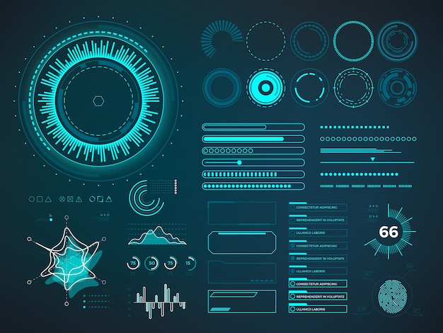 Interface de usuário futurista hud. elementos do vetor infográfico