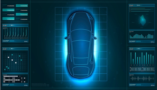 Interface de usuário futurista. hud ui. interface de usuário abstrata virtual toque gráfico. carro