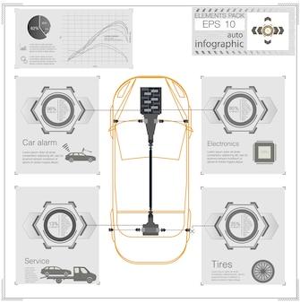 Interface de usuário futurista. hud ui. interface de usuário de toque abstrato. infográfico de carros. resumo da ciência. ilustração.