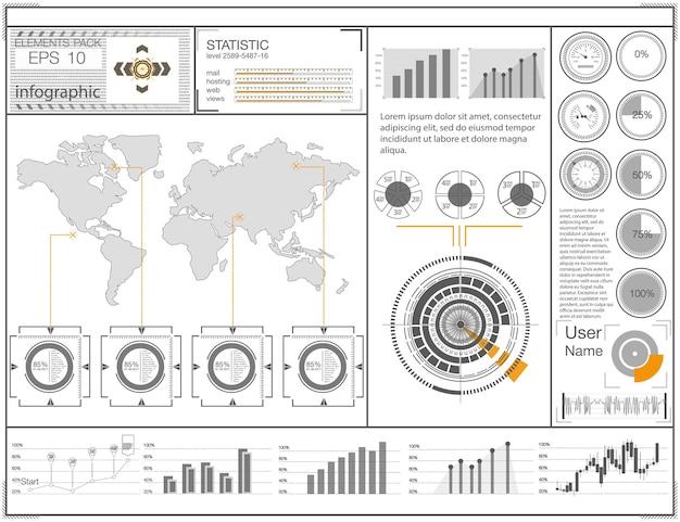 Interface de usuário futurista hud ui interface de usuário gráfica virtual abstrata de toque infográfico de carros