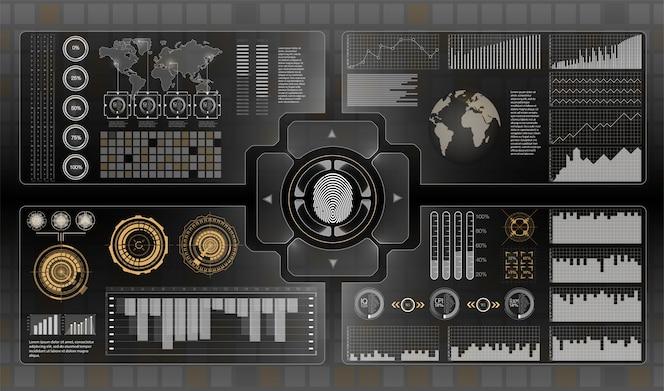 Interface de usuário futurista. infografia de transporte de mercadorias e transporte