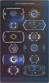 Interface de usuário futurista. ui do hud. interface de usuário abstrata virtual toque gráfico. espaço exterior do fundo hud. resumo da ciência. .