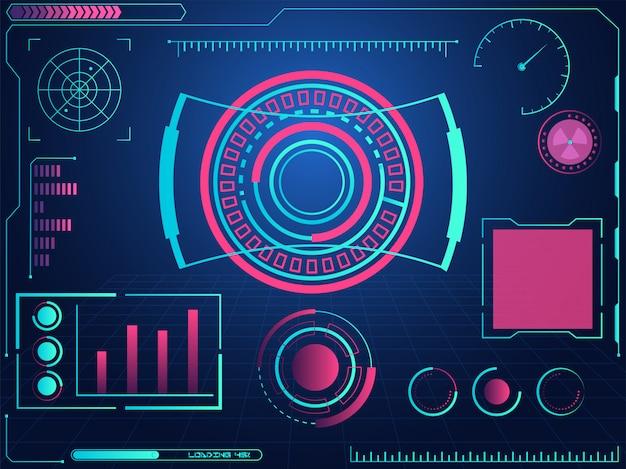 Interface de usuário gráfica futurista hud e telas de radar no fundo da grade azul.