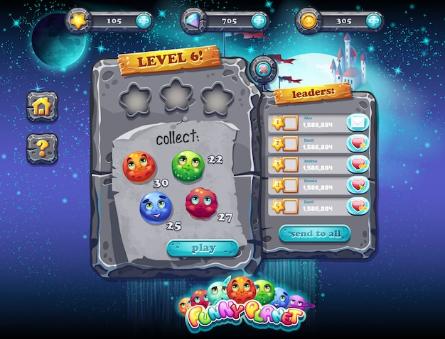 Interface de usuário para jogos de computador e web design. conjunto 1.
