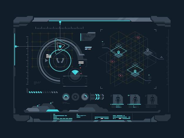 Interface digital virtual. dados e indicadores na tela. ilustração