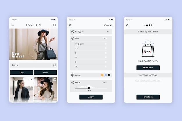 Interface do aplicativo de compras de moda