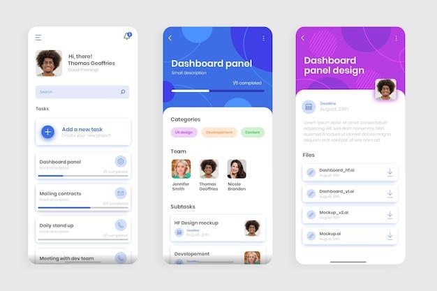 Interface do aplicativo de gerenciamento de tarefas