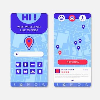 Interface do aplicativo de localização