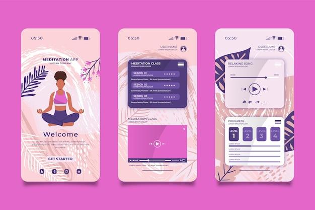 Interface do aplicativo de meditação