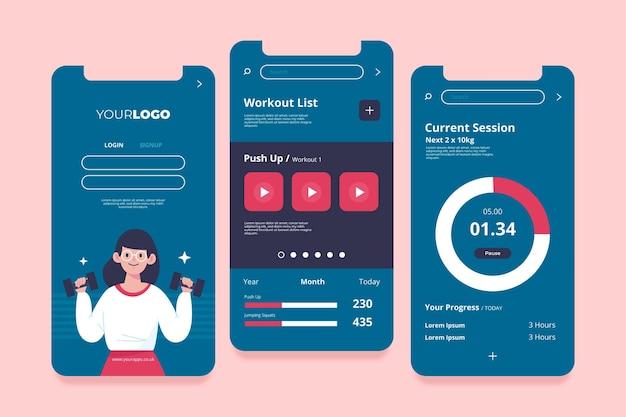 Interface do aplicativo de monitoramento de treino