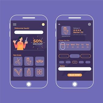 Interface do aplicativo de reserva de barbearia