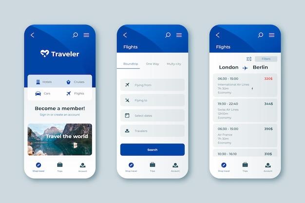 Interface do aplicativo de reserva de viagens