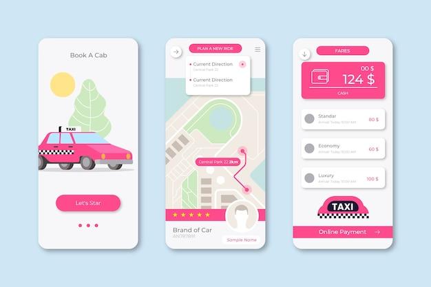 Interface do aplicativo de táxi ilustrada