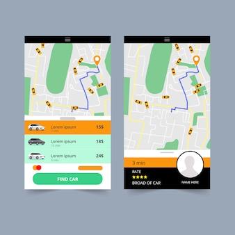 Interface do aplicativo de táxi