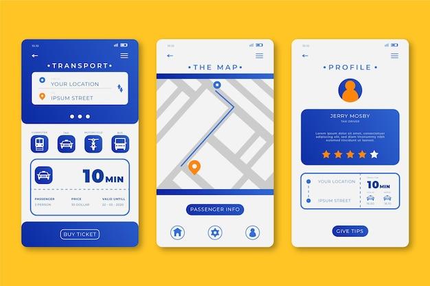 Interface do aplicativo de transporte público